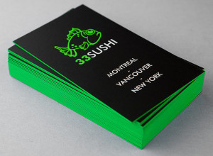 Matte Black Business Card with Edge Painting New York