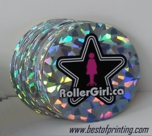 Holographic Silver Foil on Vinyl Sticker Canada