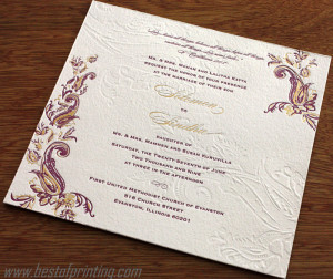 Embossed Wedding Invite New York