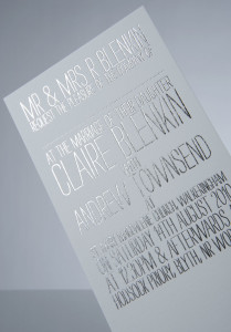 Silver Foil Stamping on Wedding Card