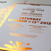 Light Orange Foil Stamping Wedding Invite