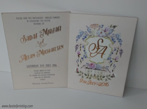 Light Copper Foil Stamping Plus Printed Wedding Invite